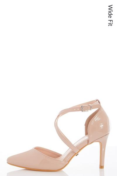 Wide Fit Nude Faux Leather Courts